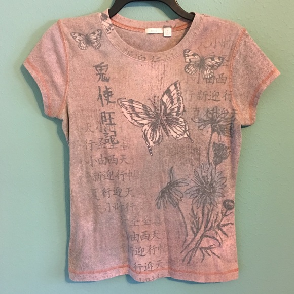 Apt. 9 Tops - Apt. 9 Butterfly Asian Embellished TShirt Medium